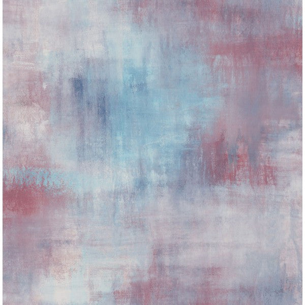 Sample Watercolor Tonal Wallpaper in Blues and Reds from the L'Atelier de Paris collection by Seabrook