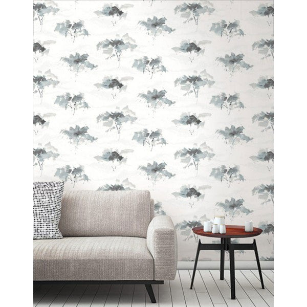 Watercolor Trees Wallpaper In Greys And Ivory From The L