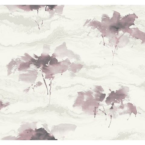 Watercolor Trees Wallpaper in Wine and Greys from the L'Atelier de Paris collection by Seabrook