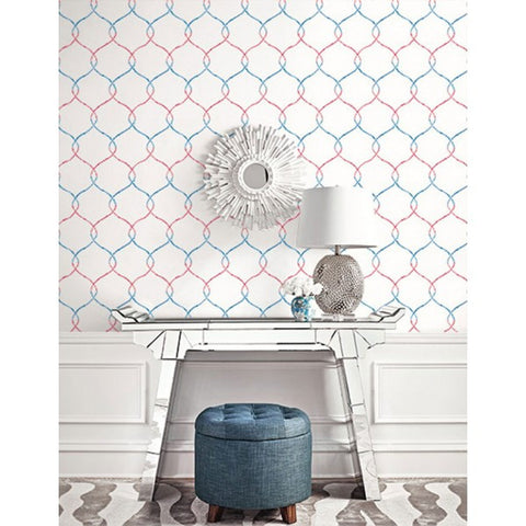 Watercolor Trellis Wallpaper in Red-Blue and Ivory from the L'Atelier de Paris collection by Seabrook