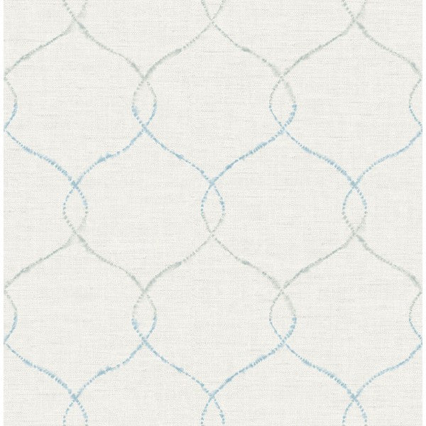 Watercolor Trellis Wallpaper In Blue Grey And Ivory From