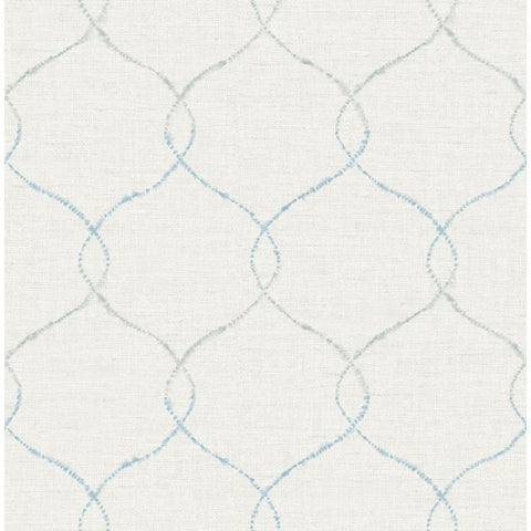 Watercolor Trellis Wallpaper in Blue-Grey and Ivory from the L'Atelier de Paris collection by Seabrook
