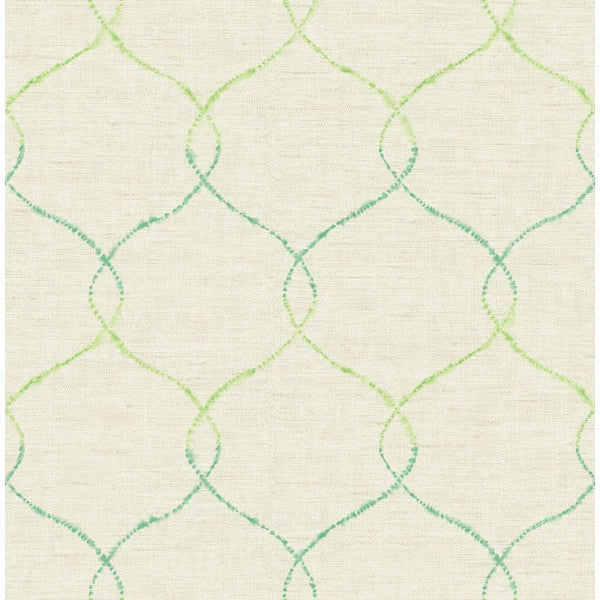 Sample Watercolor Trellis Wallpaper in Greens and Ivory from the L'Atelier de Paris collection by Seabrook