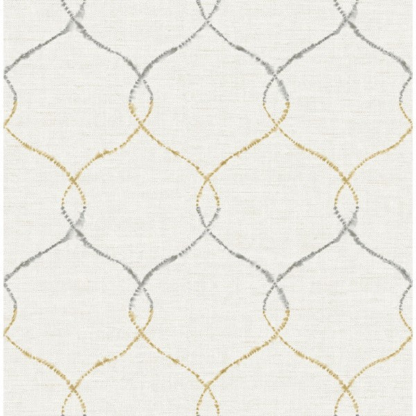 Sample Watercolor Trellis Wallpaper in Tan-Grey and Ivory from the L'Atelier de Paris collection by Seabrook