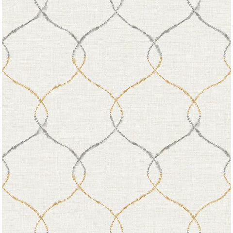 Watercolor Trellis Wallpaper in Tan-Grey and Ivory from the L'Atelier de Paris collection by Seabrook
