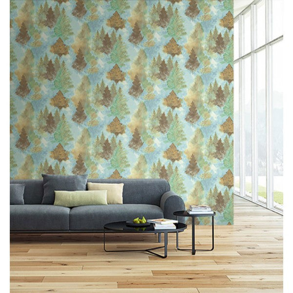 watercolor wilds wallpaper in blues and pale green from the l 39 atelier burke decor. Black Bedroom Furniture Sets. Home Design Ideas