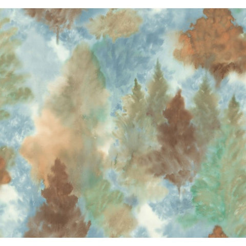 Watercolor Wilds Wallpaper in Blue, Browns, and Green from the L'Atelier de Paris collection by Seabrook