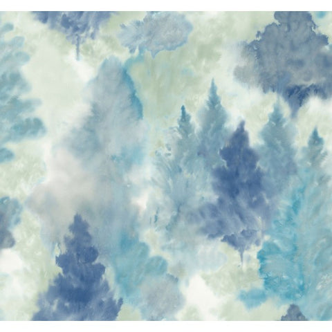 Watercolor Wilds Wallpaper in Blues and Pale Green from the L'Atelier de Paris collection by Seabrook