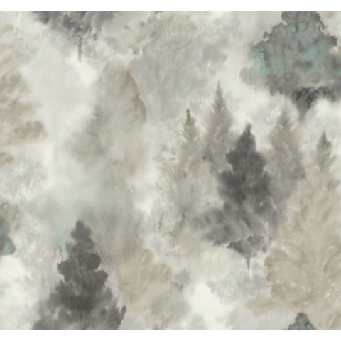 Watercolor Wilds Wallpaper in Grey and Neutrals from the L'Atelier de Paris collection by Seabrook