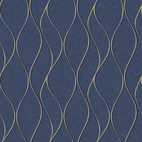Wave Ogee Peel & Stick Wallpaper in Navy by RoomMates for York Wallcoverings