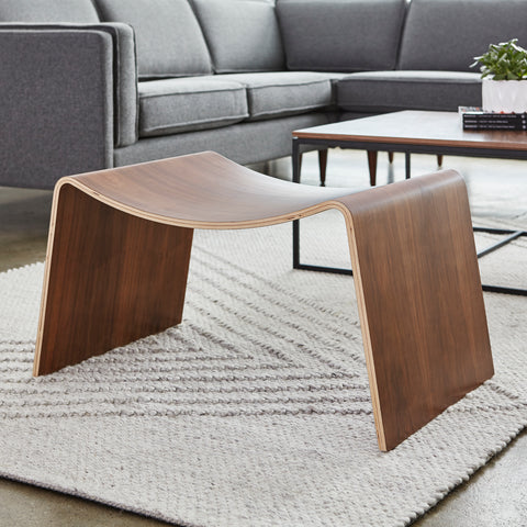 Wave Stool in Walnut design by Gus Modern