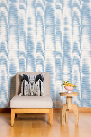 Waving Wallpaper in Celeste and Cream by Juju