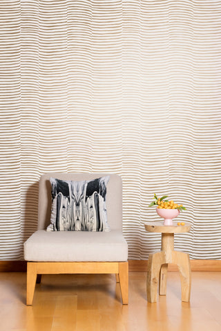 Waving Wallpaper in Gold and Cream by Juju