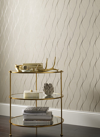 Wavy Stripe Wallpaper in Soft Neutral and Metallic by York Wallcoverings