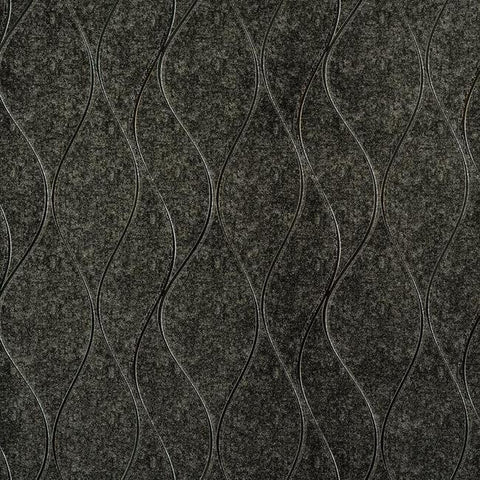 Wavy Stripe Wallpaper in Metallic Charcoal and Silver by York Wallcoverings