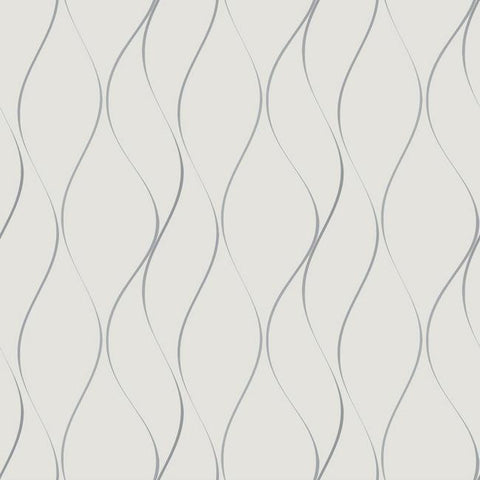 Wavy Stripe Wallpaper in Soft Grey and Silver by York Wallcoverings