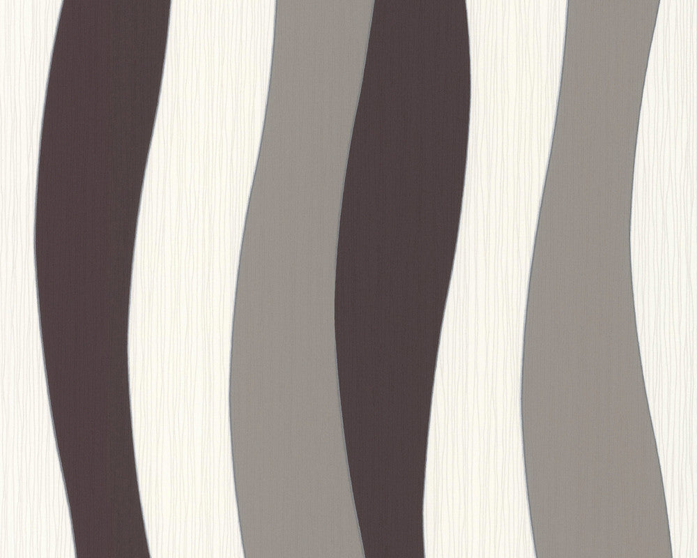 Sample Wavy Stripes Wallpaper in Brown and Cream design by BD Wall