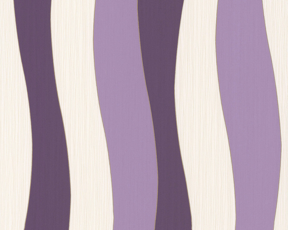 Sample Wavy Stripes Wallpaper in Lilac design by BD Wall
