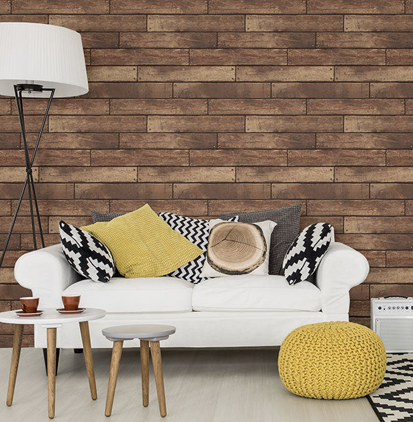 Weathered Brown Nailhead Plank Wallpaper from the ...