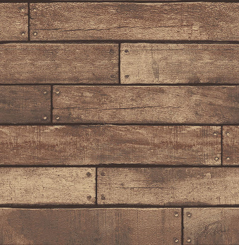 Weathered Brown Nailhead Plank Wallpaper from the Essentials Collection by Brewster Home Fashions
