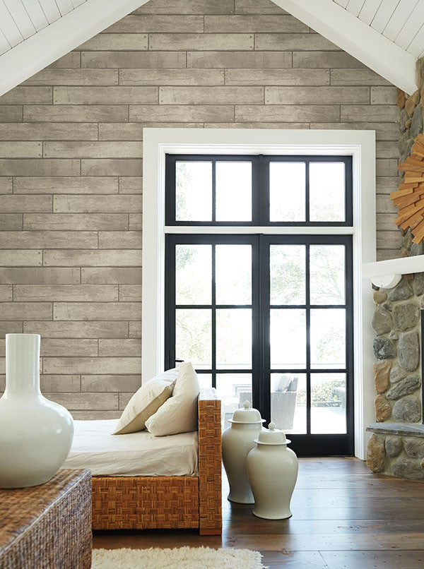 Weathered Grey Nailhead Plank Wallpaper From The