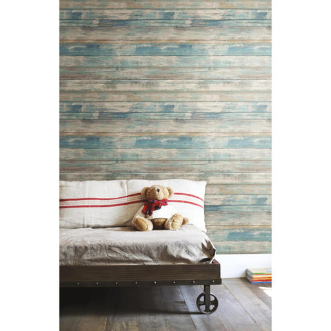 Weathered Planks Peel & Stick Wallpaper in Blue by RoomMates for York Wallcoverings