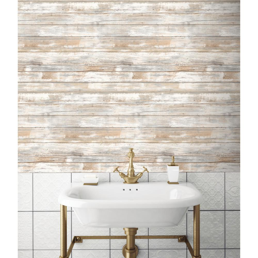 Weathered Planks Peel Stick Wallpaper In Neutral By Roommates For Yo Burke Decor