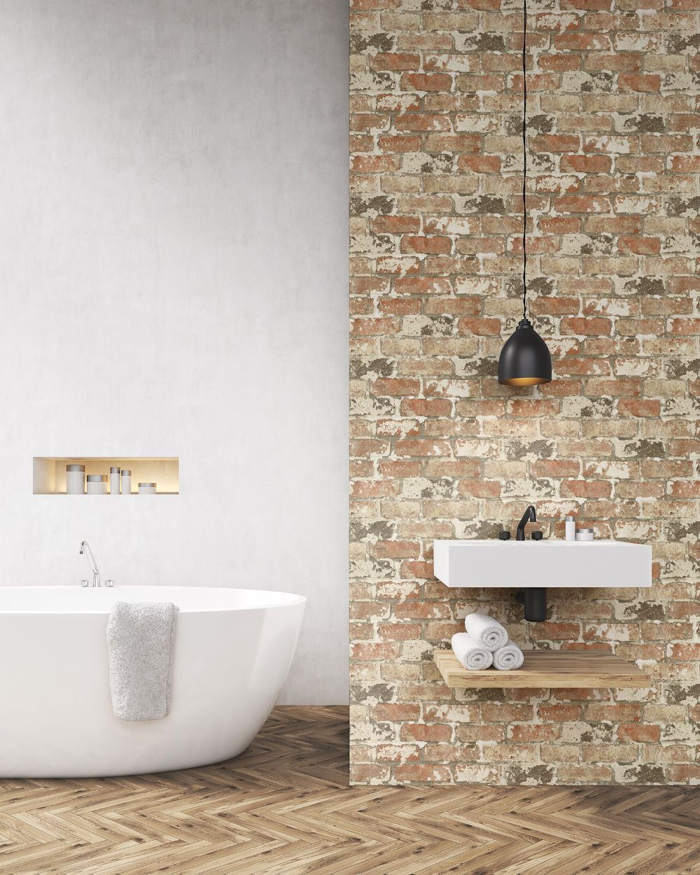 Weathered Brick Peel And Stick Wallpaper In Red By Nextwall Burke Decor