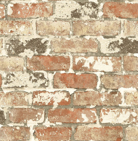 Weathered Red Brick Peel-and-Stick Wallpaper in Red by NextWall