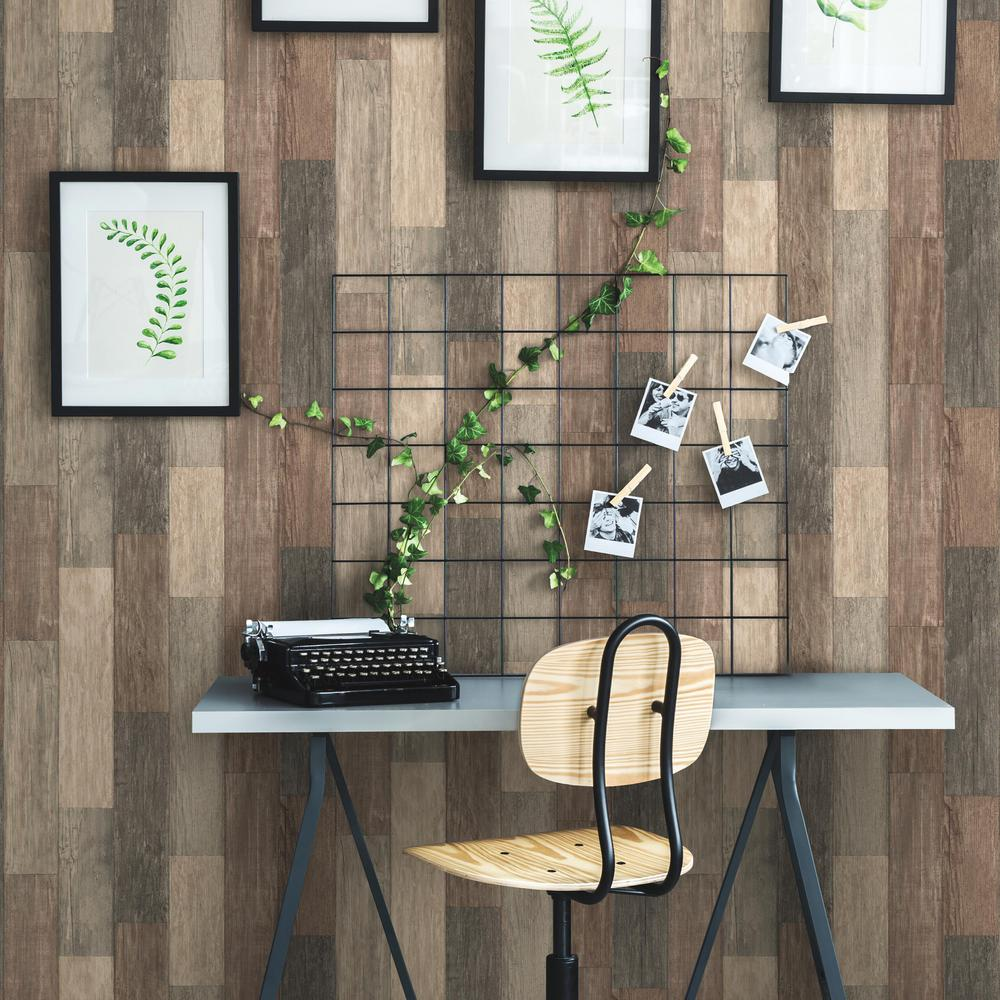 Weathered Wood Plank Peel Stick Wallpaper In Brown By Roommates For Burke Decor