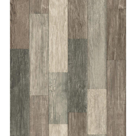 Weathered Wood Plank Peel & Stick Wallpaper in Brown by RoomMates for York Wallcoverings