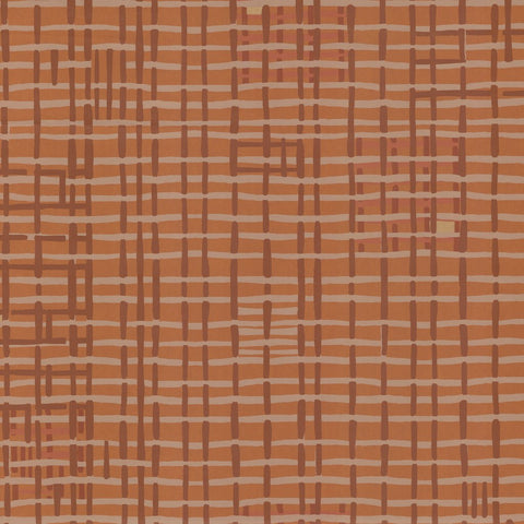Weave Wallpaper in Terra Cotta by Hawkins New York