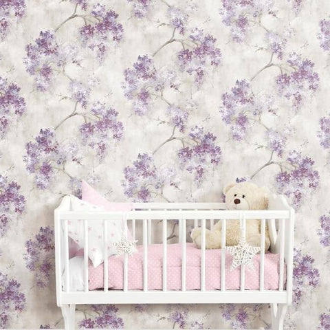 Weeping Cherry Tree Peel & Stick Wallpaper in Purple by RoomMates for York Wallcoverings