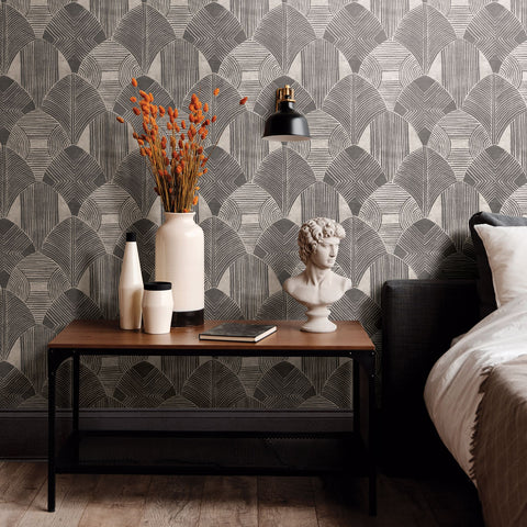 Westport Geometric Wallpaper in Charcoal from the Scott Living Collection by Brewster Home Fashions