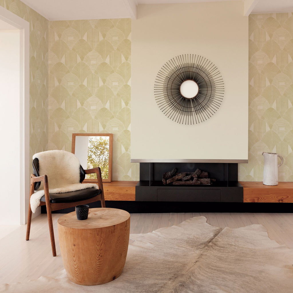 Westport Geometric Wallpaper in Coffee from the Scott Living Collection by Brewster Home Fashions