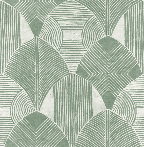 Westport Geometric Wallpaper in Green from the Scott Living Collection by Brewster Home Fashions
