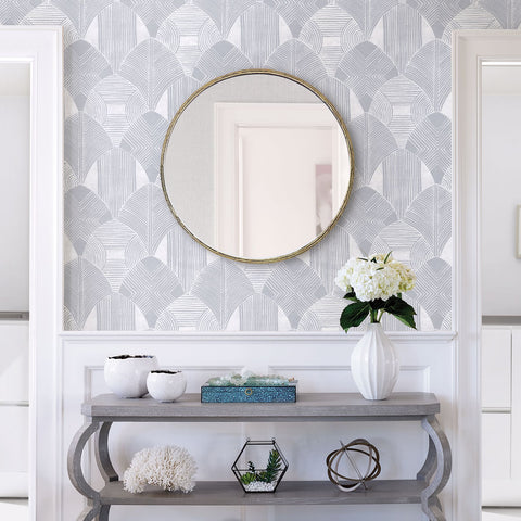 Westport Geometric Wallpaper in Pewter from the Scott Living Collection by Brewster Home Fashions