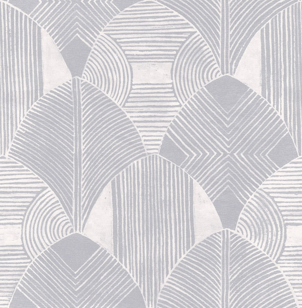 Sample Westport Geometric Wallpaper in Pewter from the Scott Living Collection by Brewster Home Fashions