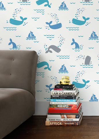 Whalentine Wallpaper in Juno design by Aimee Wilder