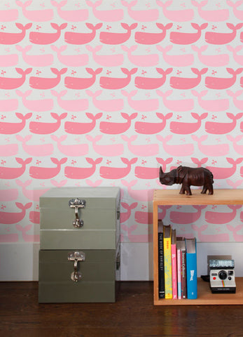 Whales Wallpaper in Candy design by Aimee Wilder
