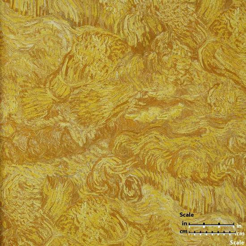 Wheatfield Wallpaper in Yellow Sienna from the Van Gogh Collection by Burke Decor