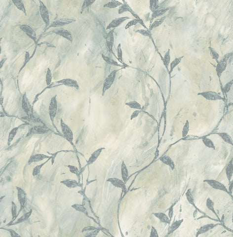Wheatstone Wallpaper in Blue and Off-White from the Metalworks Collection by Seabrook Wallcoverings