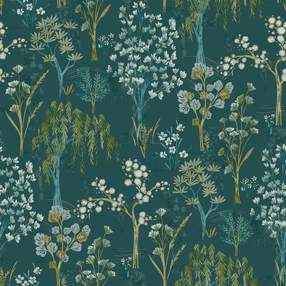 Sample Whimsical Botanicals Wallpaper in Teal by Walls Republic