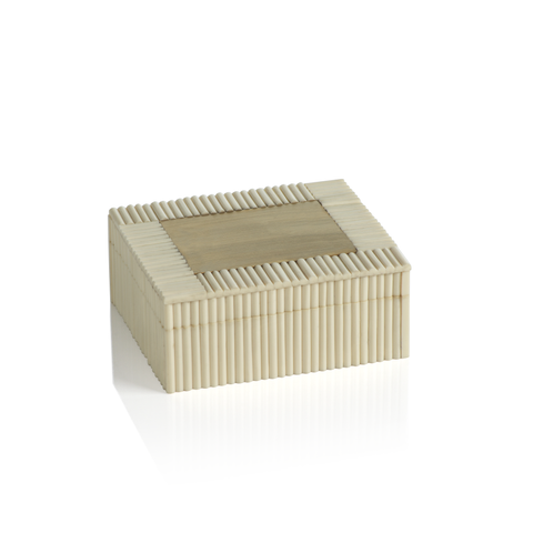 White Bone Chips and Brass Decorative Box