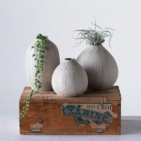 White & Black Stoneware Textured Vases- Set of 3