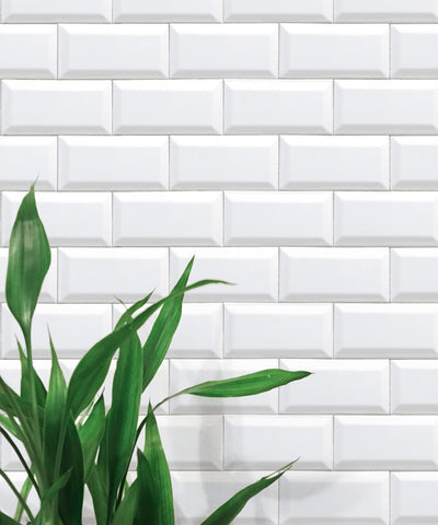 White Subway Tiles Wallpaper from the Kemra Collection by Milton & King