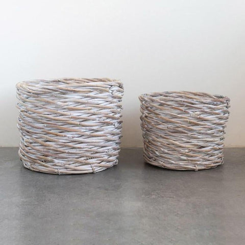 Whitewash Woven Arurog Baskets - Set of 2