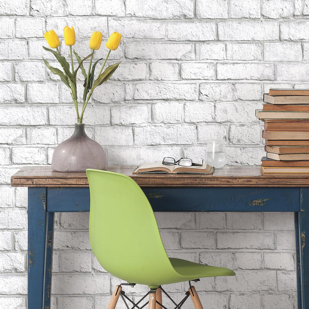Whitewash Brick Peel Stick Wallpaper By Roommates For York
