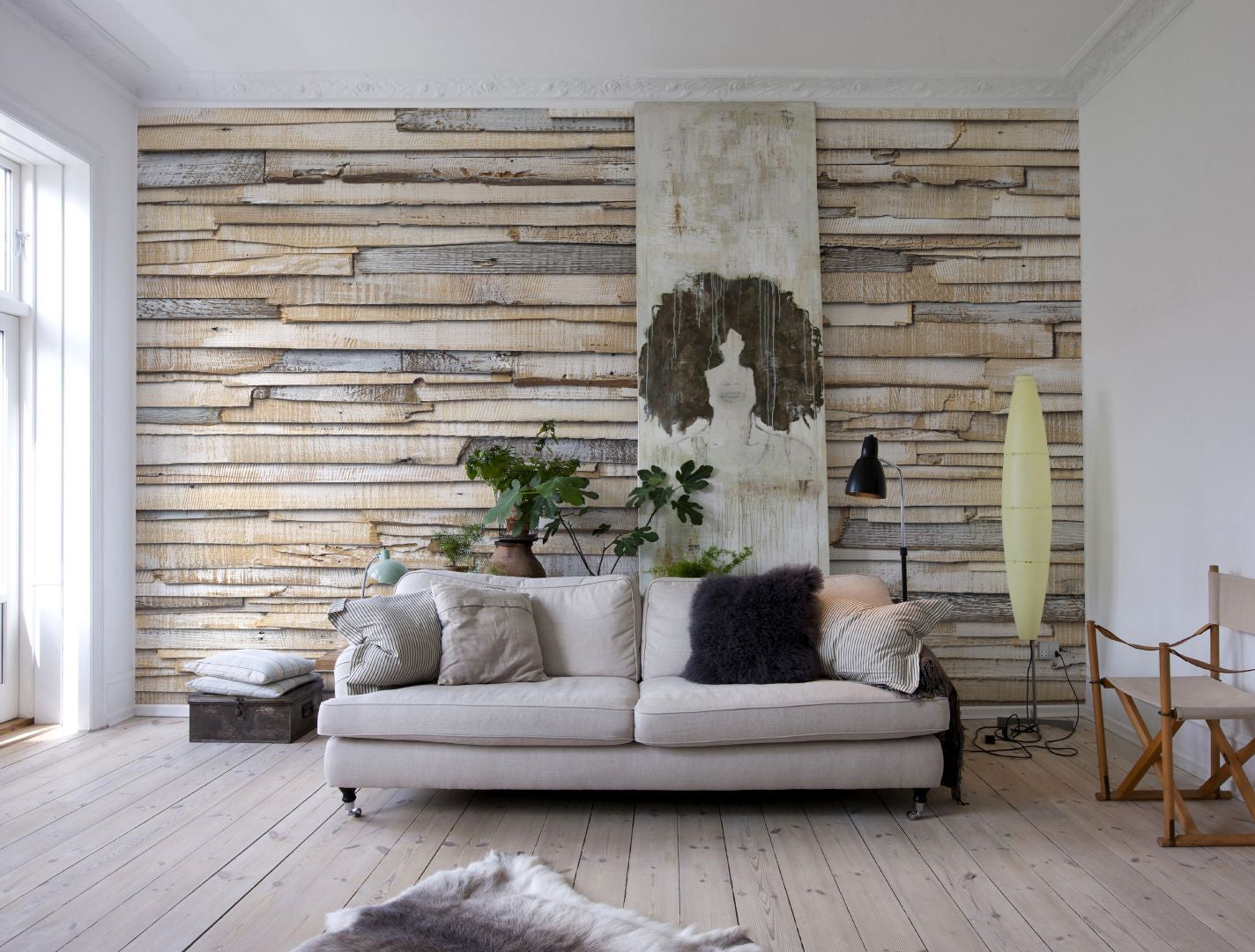 Whitewashed wood wall mural design by komar for brewster for Create wall mural