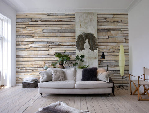 Whitewashed Wood Wall Mural design by Komar for Brewster Home Fashions